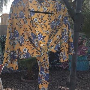 Marigold and blue floral kimono bolero